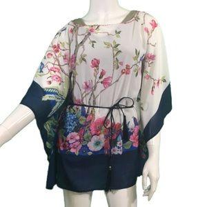 EUC Freeway Floral Beaded Shirt w/ Tie